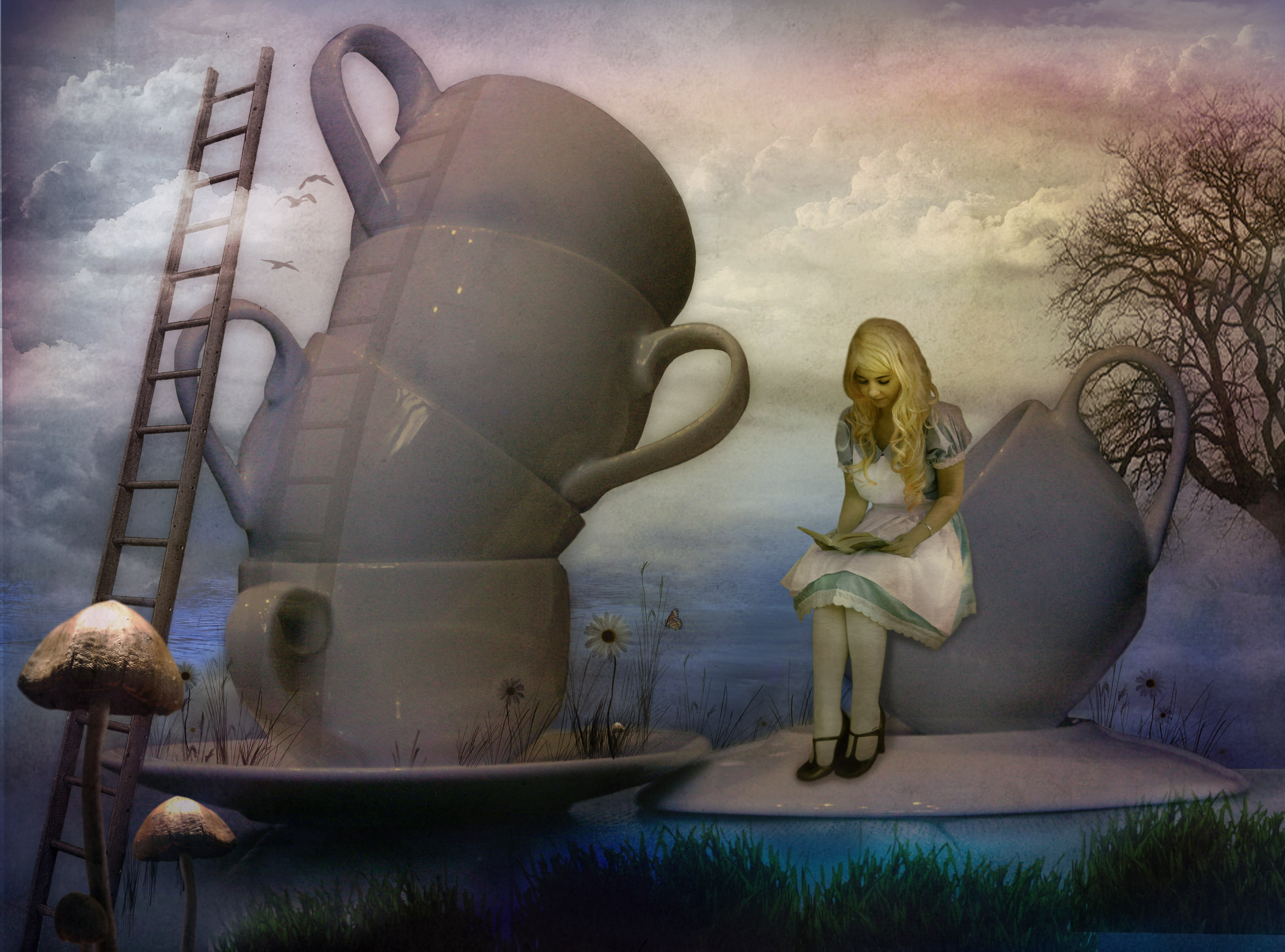 Image is loading ART-PRINT-Alice-in-Wonderland-Down-the-Rabbit-